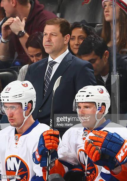 Head coach Doug Weight of the New York Islanders skates against the New Jersey Devils during the game at Prudential Center on February 18 2017 in...