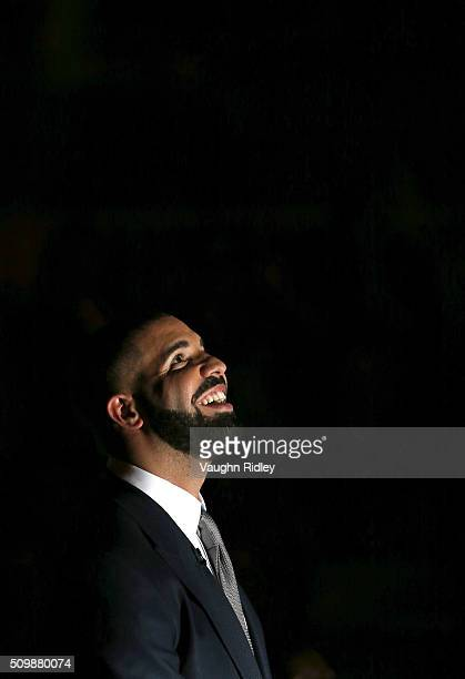 Head Coach Drake of Team Canada looks on from the bench during player introductions prior to the NBA AllStar Celebrity Game against Team USA at the...