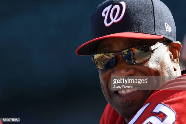 Head coach Dusty Baker of the Washington Nationals watches his team prior to game three of the National League Divisional Series against the Chicago...