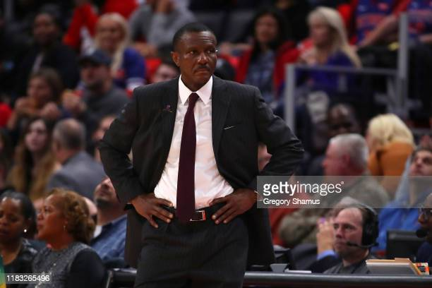 Head coach Dwane Casey looks on while playing the Atlanta Hawks during the second half at Little Caesars Arena on October 24, 2019 in Detroit,...