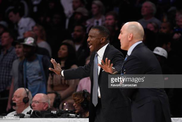 Head Coach Dwane Casey of Team Stephen reacts during the NBA AllStar Game 2018 at Staples Center on February 18 2018 in Los Angeles California