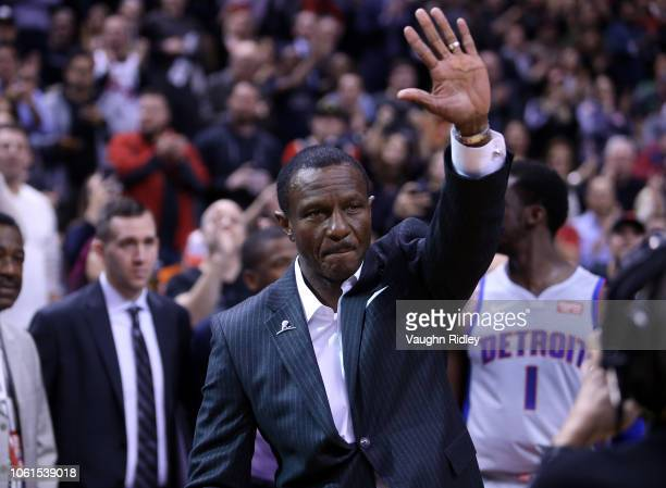 Head Coach Dwane Casey of the Detroit Pistons acknowledges the crowd during an NBA game against the Toronto Raptors at Scotiabank Arena on November...