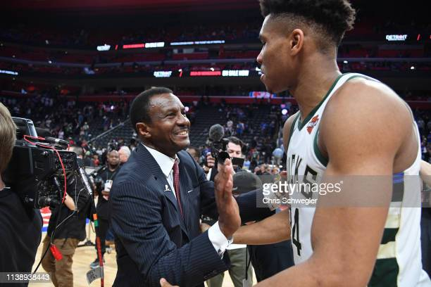 Head Coach Dwane Casey of the Detroit Pistons and Giannis Antetokounmpo of the Milwaukee Bucks talk after Game Four of Round One of the 2019 NBA...