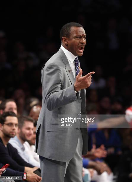 Head Coach Dwane Casey of the Detroit Pistons coaches against the Brooklyn Netsduring their game at Barclays Center on January 29, 2020 in New York...
