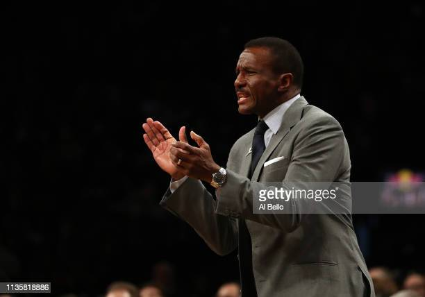 Head Coach Dwane Casey of the Detroit Pistons coaches his team against the Brooklyn Nets during their game at Barclays Center on March 11, 2019 in...