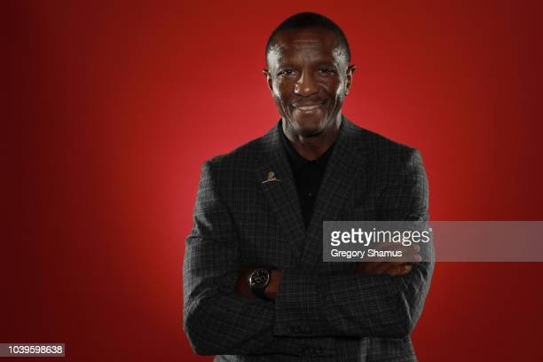 Head coach Dwane Casey of the Detroit Pistons during Media Day at Little Caesars Arena on September 24, 2018 in Detroit, Michigan. NOTE TO USER: User...