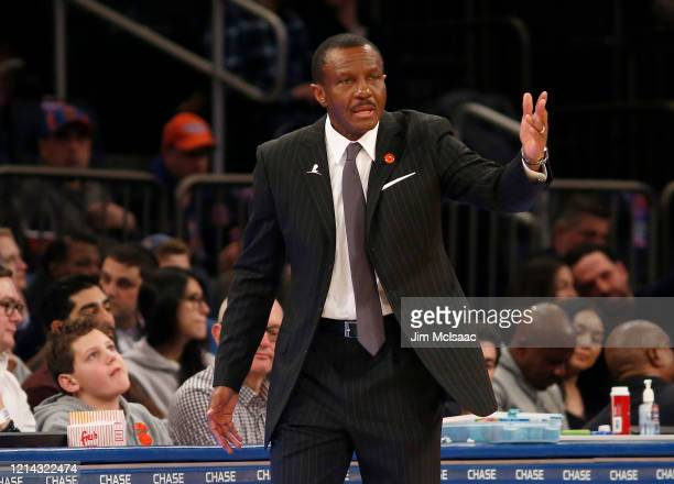 Head coach Dwane Casey of the Detroit Pistons in action against the New York Knicks at Madison Square Garden on March 08, 2020 in New York City. The...