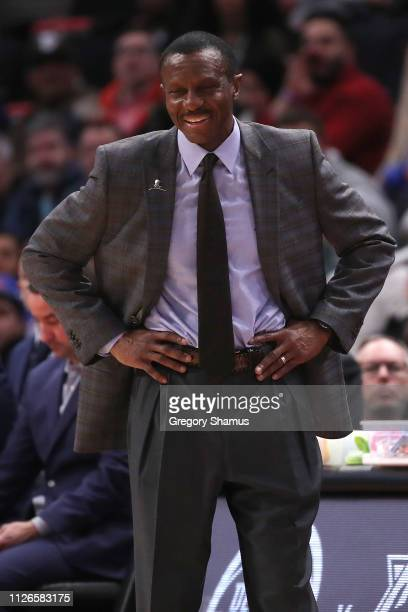 Head coach Dwane Casey of the Detroit Pistons look on while playing the Dallas Mavericks at Little Caesars Arena on January 31, 2019 in Detroit,...