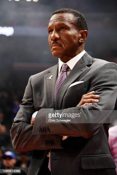 Head Coach Dwane Casey of the Detroit Pistons looks on against the Philadelphia 76ers on December 7, 2018 at Little Caesars Arena in Detroit,...