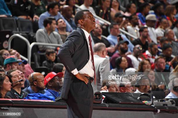Head Coach Dwane Casey of the Detroit Pistons looks on against the Milwaukee Bucks during Game Four of Round One of the 2019 NBA Playoffs on April 22...