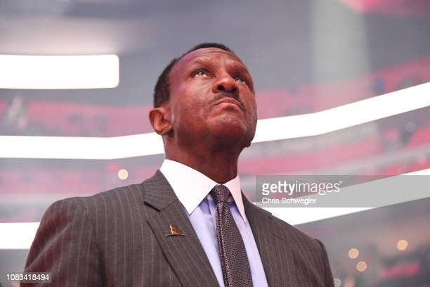 Head Coach Dwane Casey of the Detroit Pistons looks on before the game against the Orlando Magic on January 16, 2019 at Little Caesars Arena in...
