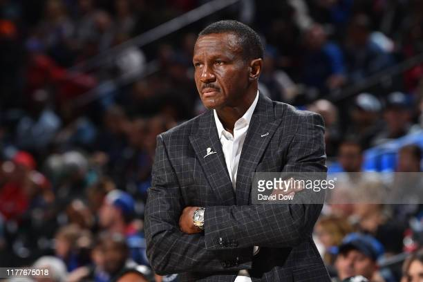 Head Coach Dwane Casey of the Detroit Pistons looks on during a pre-season game against the Philadelphia 76ers on October 15, 2019 at the Wells Fargo...