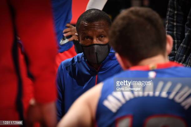 Head Coach Dwane Casey of the Detroit Pistons looks on during the game against the New Orleans Pelicans on February 14, 2021 at Little Caesars Arena...