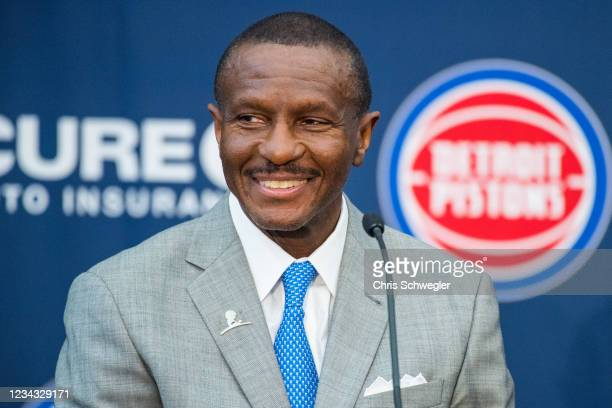 Head Coach Dwane Casey of the Detroit Pistons looks on during the press conference on July 30, 2021 in Detroit, Michigan. NOTE TO USER: User...