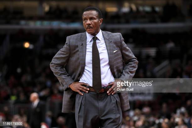 Head coach Dwane Casey of the Detroit Pistons looks on in the fourth quarter against the Chicago Bulls at the United Center on November 20, 2019 in...