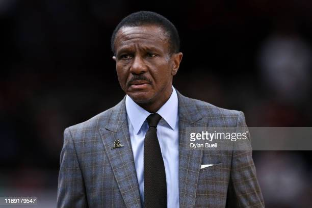 Head coach Dwane Casey of the Detroit Pistons looks on in the second quarter against the Chicago Bulls at the United Center on November 20, 2019 in...