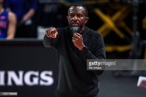 Head Coach Dwane Casey of the Detroit Pistons points during the game against the Chicago Bulls during the second quarter of the NBA game at Little...