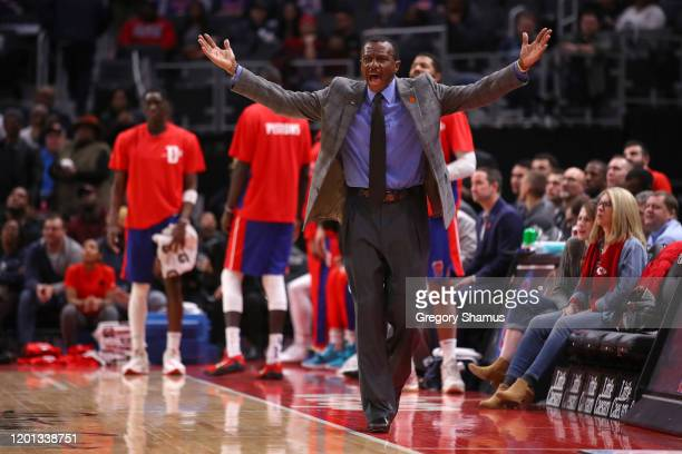 Head coach Dwane Casey of the Detroit Pistons reacts to a technical foul call while playing the Sacramento Kings at Little Caesars Arena on January...