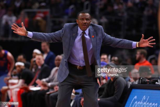 Head coach Dwane Casey of the Detroit Pistons reacts while playing the Milwaukee Bucks at Little Caesars Arena on February 20, 2020 in Detroit,...