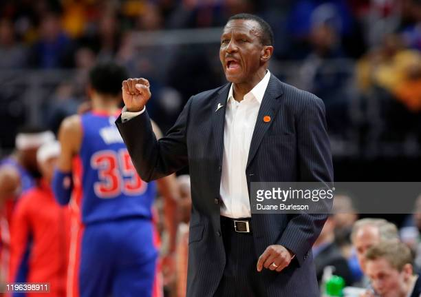 Head coach Dwane Casey of the Detroit Pistons shouts to his team during the first half of a game against the Brooklyn Nets at Little Caesars Arena on...