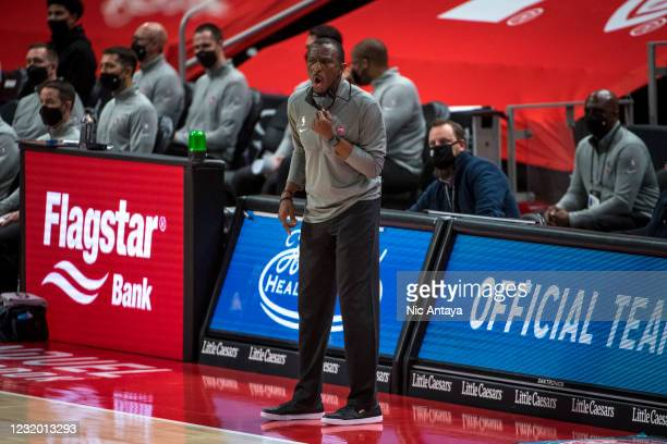 Head coach Dwane Casey of the Detroit Pistons yells during the second quarter of the game against the Toronto Raptors at Little Caesars Arena on...