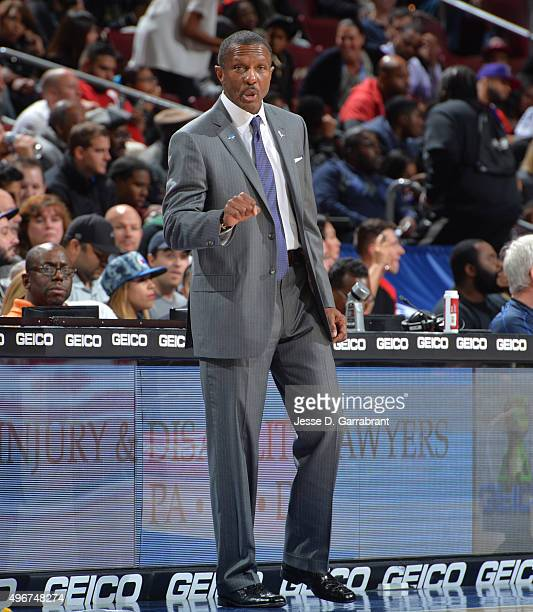 Head Coach Dwane Casey of the Toronto Raptors directs his team against the Philadelphia 76ers at Wells Fargo Center on November 11 2015 in...