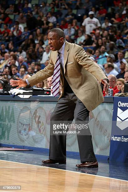 Head Coach Dwane Casey of the Toronto Raptors gives direction against the New Orleans Pelicans during an NBA game on March 19 2014 at the Smoothie...