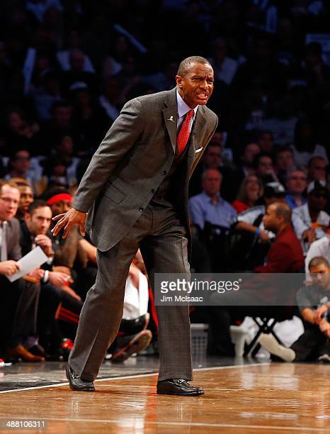 Head coach Dwane Casey of the Toronto Raptors in action against the Brooklyn Nets in Game Three of the Eastern Conference Quarterfinals during the...