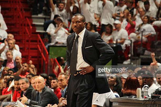 Head Coach Dwane Casey of the Toronto Raptors looks on against the Miami Heat in Game Six of the Eastern Conference Semifinals during the 2016 NBA...