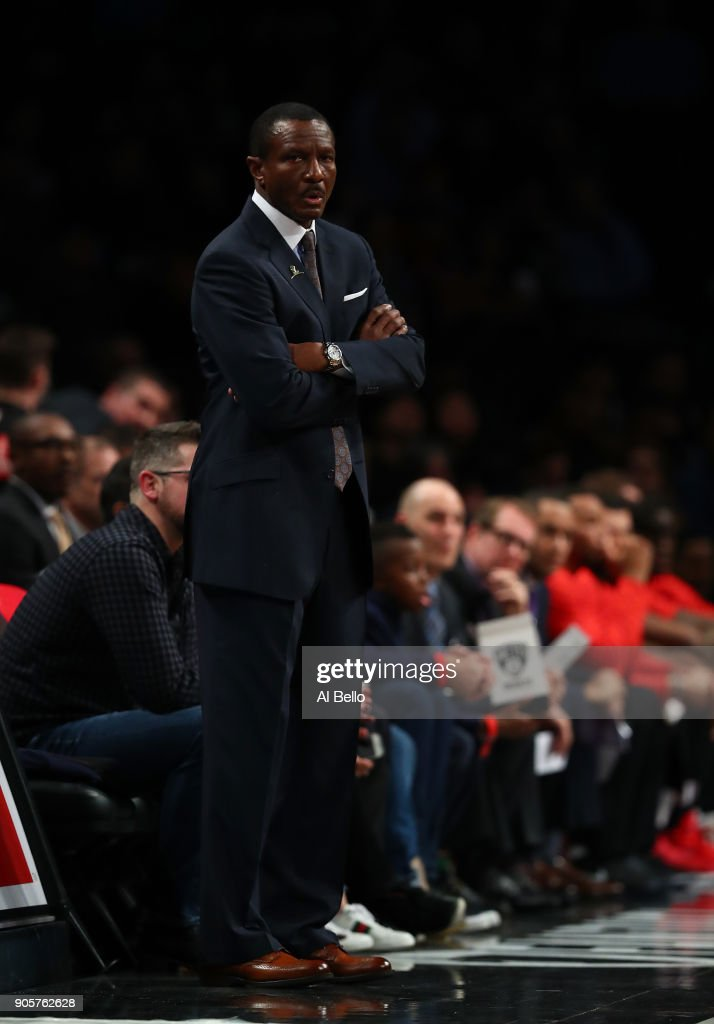 Head Coach Dwane Casey of the Toronto Raptors looks on against the Brooklyn Nets during their game at Barclays Center on January 8, 2018 in New York City.