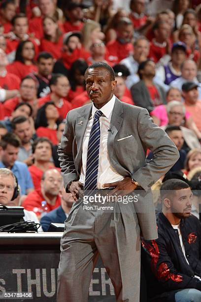 Head Coach Dwane Casey of the Toronto Raptors looks on during the game against the Cleveland Cavaliers in Game Six of the Eastern Conference Finals...