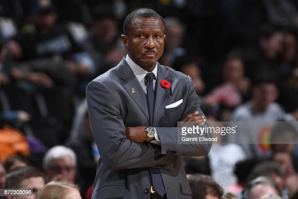 Head coach Dwane Casey of the Toronto Raptors looks on during the game against the Denver Nuggets on November 1 2017 at the Pepsi Center in Denver...