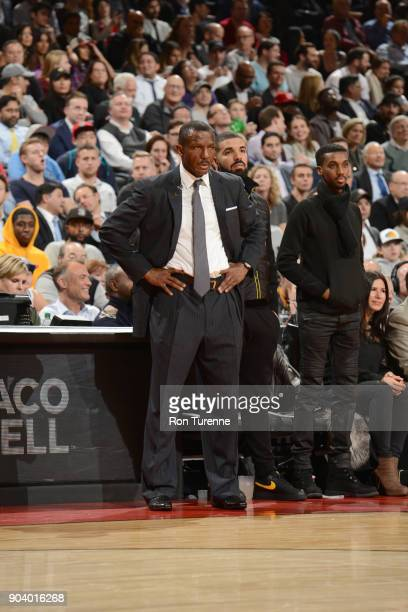 Head Coach Dwane Casey of the Toronto Raptors looks on during the game against the Cleveland Cavaliers on January 11 2018 at the Air Canada Centre in...