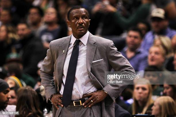 Head coach Dwane Casey of the Toronto Raptors looks on in the fourth quarter against the Milwaukee Bucks at the Bradley Center on January 5 2018 in...