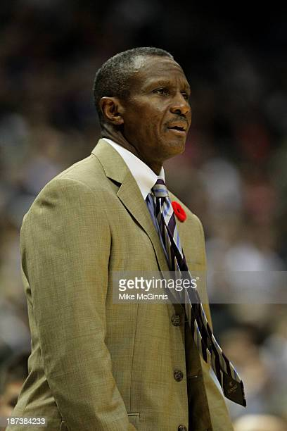 Head Coach Dwane Casey of the Toronto Raptors on the sideline during the game against the Milwaukee Bucks at Bradley Center on November 2 2013 in...