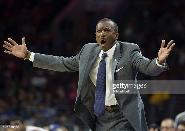 Head coach Dwane Casey of the Toronto Raptors reacts during the game against the Philadelphia 76ers on November 11 2015 at the Wells Fargo Center in...