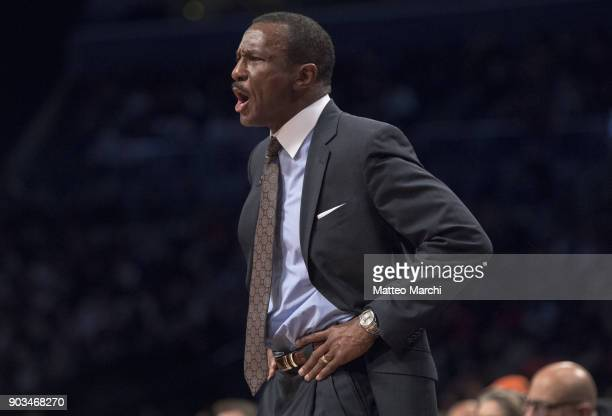 Head Coach Dwane Casey of the Toronto Raptors reacts during the game against the Brooklyn Nets at Barclays Center on January 08 2018 in Brooklyn New...