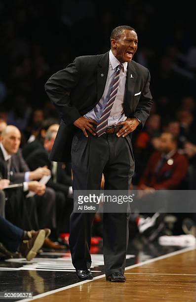 Head Coach Dwane Casey of the Toronto Raptors shouts instructions to his team against the Brooklyn Nets during their game at the Barclays Center on...