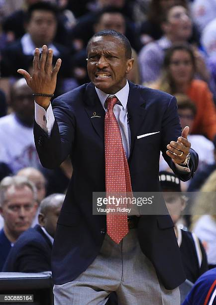 Head Coach Dwane Casey of the Toronto Raptors shouts to the referee in the second half of Game Five of the Eastern Conference Semifinals against the...