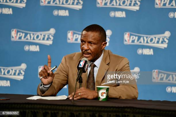 Head Coach Dwane Casey of the Toronto Raptors speaks to the media after Game One of the Eastern Conference Semifinals of the 2017 NBA Playoffs on May...