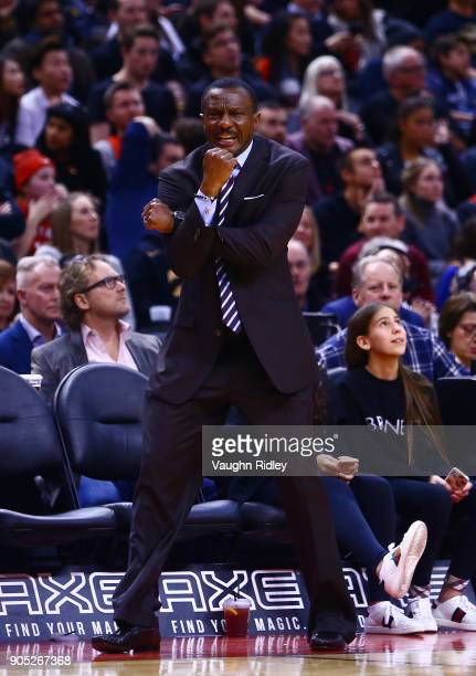 Head Coach Dwayne Casey of the Toronto Raptors shouts to an official during the second half of an NBA game against the Golden State Warriors at Air...