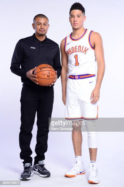 Head Coach Earl Watson and Devin Booker of the Phoenix Suns pose for a portrait at the Talking Stick Resort Arena in Phoenix Arizona NOTE TO USER...