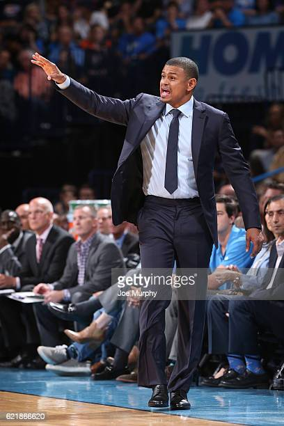 Head Coach Earl Watson of the Phoenix Suns coaches during the game against the Oklahoma City Thunder on October 28 2016 at the Chesapeake Energy...