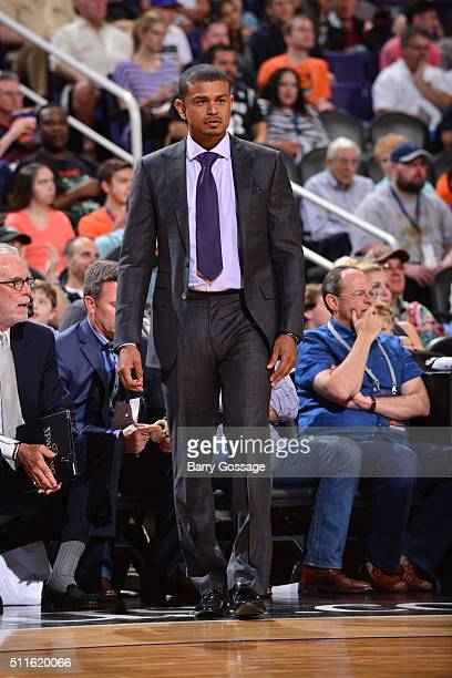 Head coach Earl Watson of the Phoenix Suns looks on during the game against the San Antonio Spurs on February 21 2016 at Talking Stick Resort Arena...