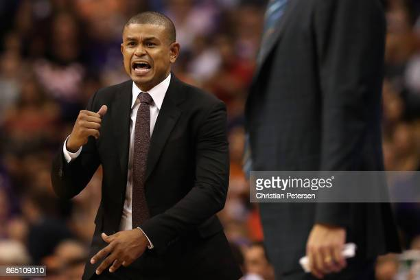 Head coach Earl Watson of the Phoenix Suns reacts during the NBA game against the Los Angeles Lakers at Talking Stick Resort Arena on October 20 2017...