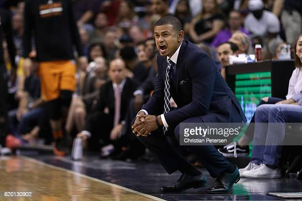 Head coach Earl Watson of the Phoenix Suns reacts during the second half of the NBA game against the Golden State Warriors at Talking Stick Resort...