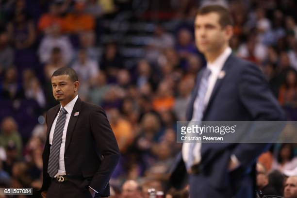 Head coach Earl Watson of the Phoenix Suns reacts during the second half of the NBA game against the Boston Celtics at Talking Stick Resort Arena on...
