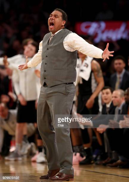 Head coach Ed Cooley of the Providence Friars reacts in the overtime period against the Xavier Musketeers during semifinals of the Big East...