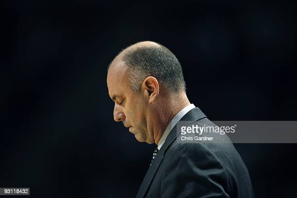 Head coach Ed DeChellis of the Penn State Nittany Lions coaches against the Penn Quakers at the Bryce Jordan Center on November 13 2009 in State...