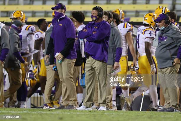 Head coach Ed Ogeron of the LSU Tigers looks on during the game against the Alabama Crimson Tide at Tiger Stadium on December 05, 2020 in Baton...